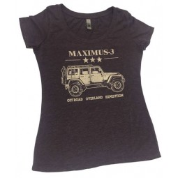 Women's Tri-Blend V-Neck Maximus-3 logo T-Shirt, Vintage Purple
