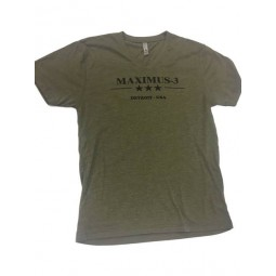 Tri-Blend V-Neck Maximus-3 Logo T-Shirt (Uni-sex), Military Green