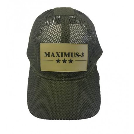 Maximus-3 Logo Patch Tactical Mesh Cap, Olive Green