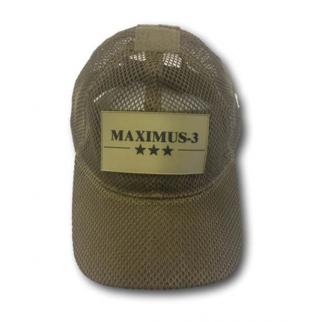 Maximus-3 Logo Patch Tactical Mesh Cap, Coyote